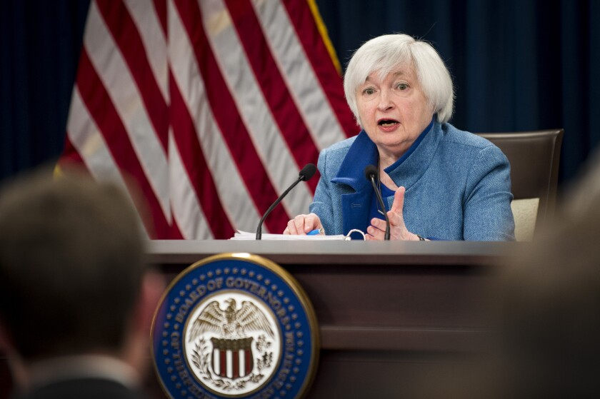 Outgoing Federal Reserve chair Janet Yellen