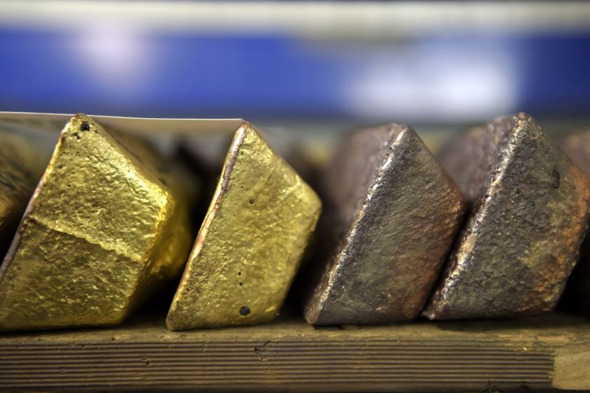 Anodes of gold sit in the vault at the Perth MInt Refinery in Perth, Western Australia, on Thursday, Aug. 9, 2018. Photographer: Carla Gottgens/Bloomberg