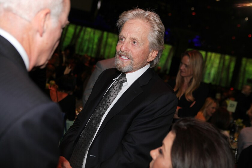 Michael Douglas at a benefit for the Robin Hood Foundation
