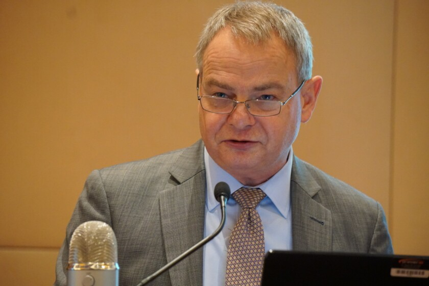 IASB chairman Hans Hoogervorst speaking at an IFRS Foundation conference in Frankfurt, Germany