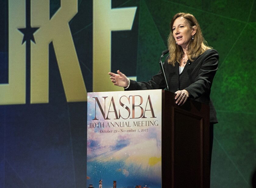 Deloitte CEO Cathy Engelbert addressing a meeting of NASBA in late 2017.