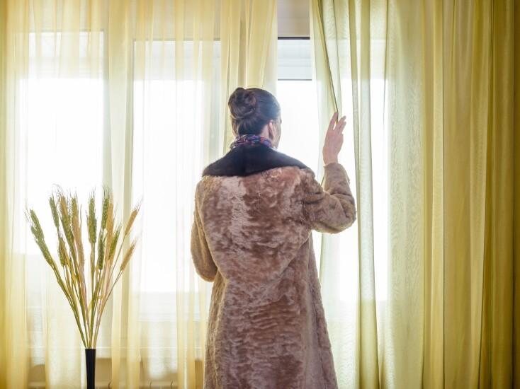 Fur coat window