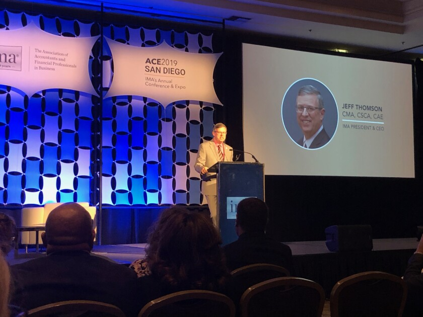 Institute of Management Accountants president and CEO Jeff Thomson speaking at the IMA's Annual Conference and Expo during its 100th anniversary in San Diego.