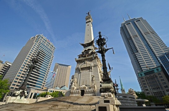 Soldiers and Sailors Monument in downtown Indianapolis.