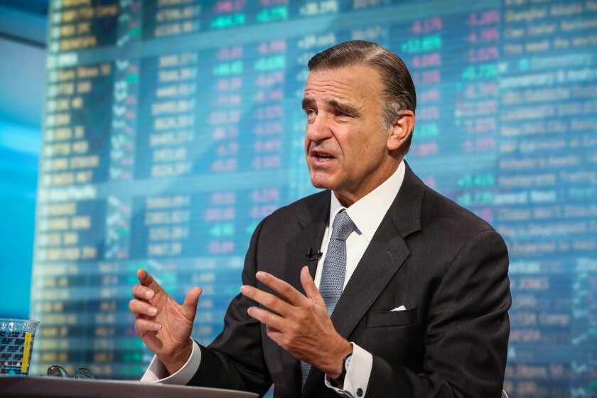 SASB Foundation chair Robert Steel, CEO of Perella Weinberg Partners, speaks during a Bloomberg Television interview