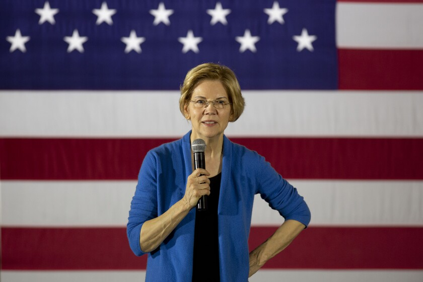 "Senator Elizabeth Warren, a Democrat from Massachusetts and 2020 presidential candidate, speaks during a campaign stop in Iowa City, Iowa, U.S., on Sunday, Feb. 10, 2019. Warren made it official on Saturday: She's running for president to change a country she says is ""rigged by the wealthy."" Photographer: Daniel Acker/Bloomberg"