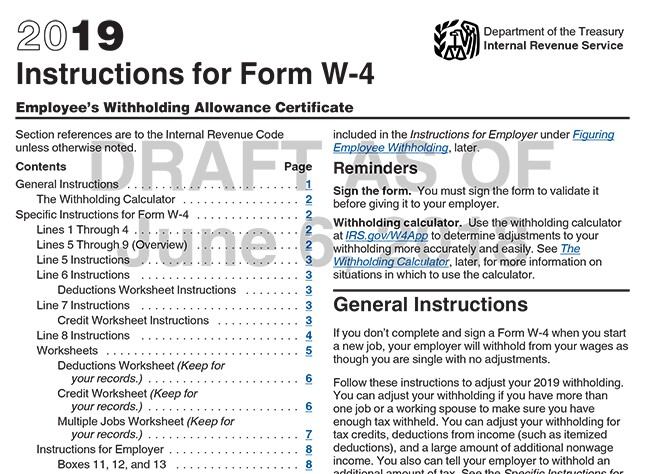 The instructions for the proposed 2019 W-4