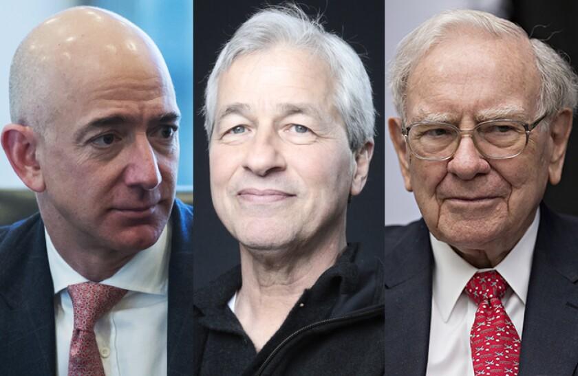 From left: Amazon CEO Jeff Bezos, JPMorgan Chase CEO Jamie Dimon, and Berkshire Hathaway CEO Warren Buffett.