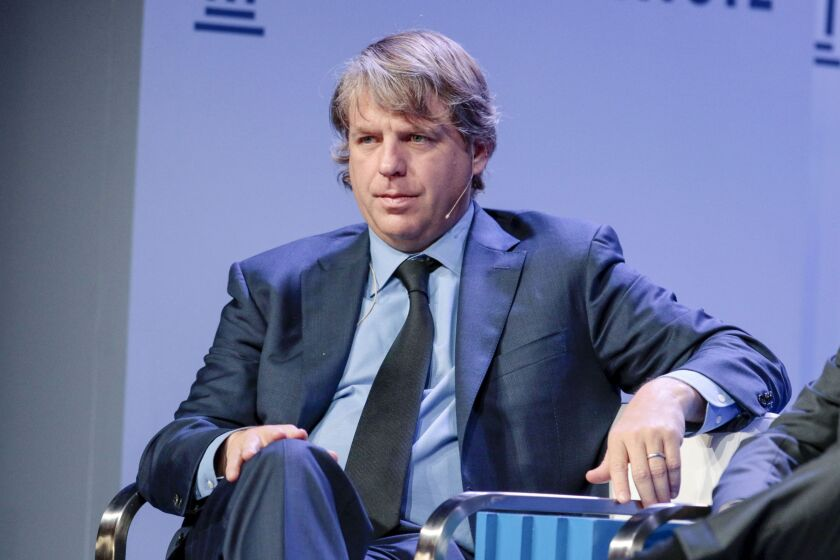 Todd Boehly, founder and chief executive officer of Eldridge Industries LLC, listens during the Milken Institute Global Conference in Beverly Hills, California, U.S., on Tuesday, April 30, 2019. The conference brings together leaders in business, government, technology, philanthropy, academia, and the media to discuss actionable and collaborative solutions to some of the most important questions of our time. Photographer: Kyle Grillot/Bloomberg