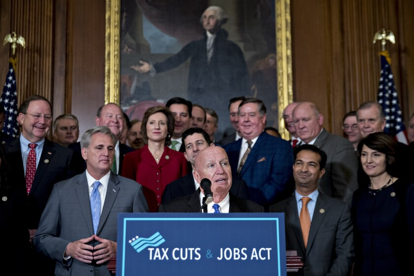 Ways and Means Chair Kevin Brady addresses a GOP press conference after the passage of tax reform legislation in the House in November.