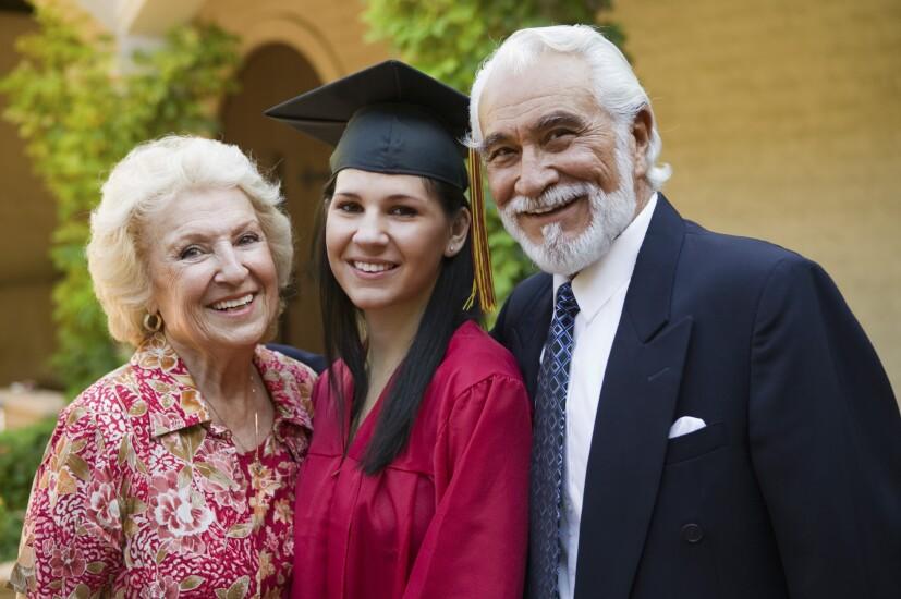 Grandparents and graduating granddaughter