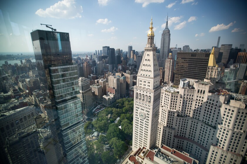 Manhattan sklyine seen from the roof of Madison Square Park Tower at 45 East 22nd Street in the Flatiron District May 18, 2017