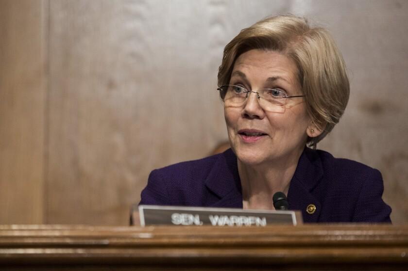 Senator Elizabeth Warren speaks during a confirmation hearing for Betsy DeVos Bloomberg News