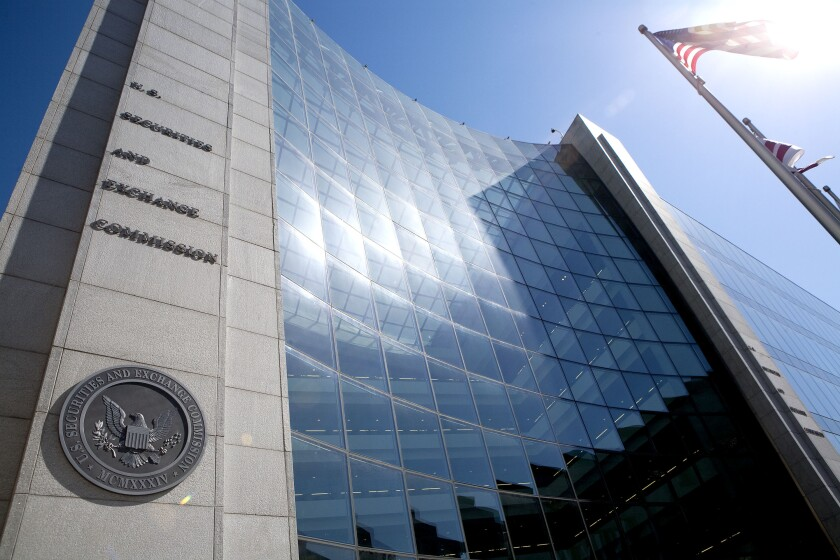 The headquarters building of the U.S. Securities and Exchange Commission (SEC) stands in Washington, D.C., U.S., on Monday, May 10, 2010.