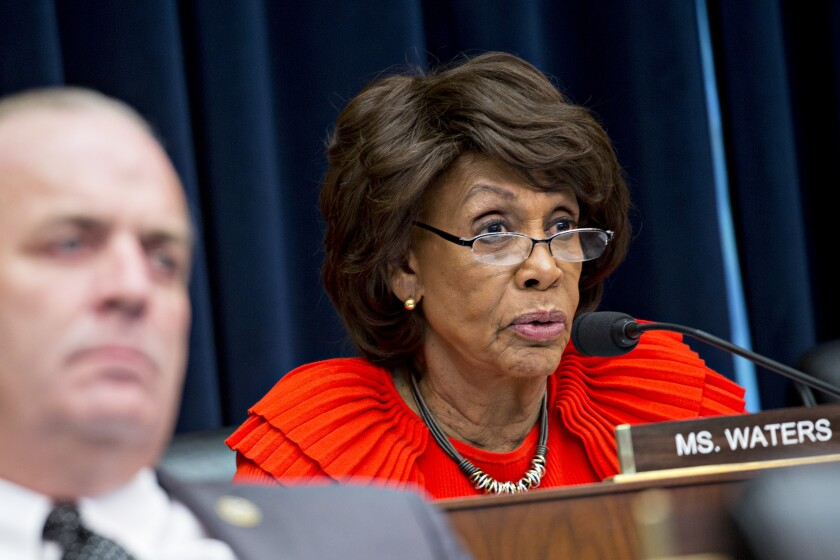 Representative Maxine Waters, a Democrat from California and ranking member of the House Financial Services Committee, questions witnesses during a hearing in Washington, D.C., U.S., on Wednesday, Oct. 25, 2017