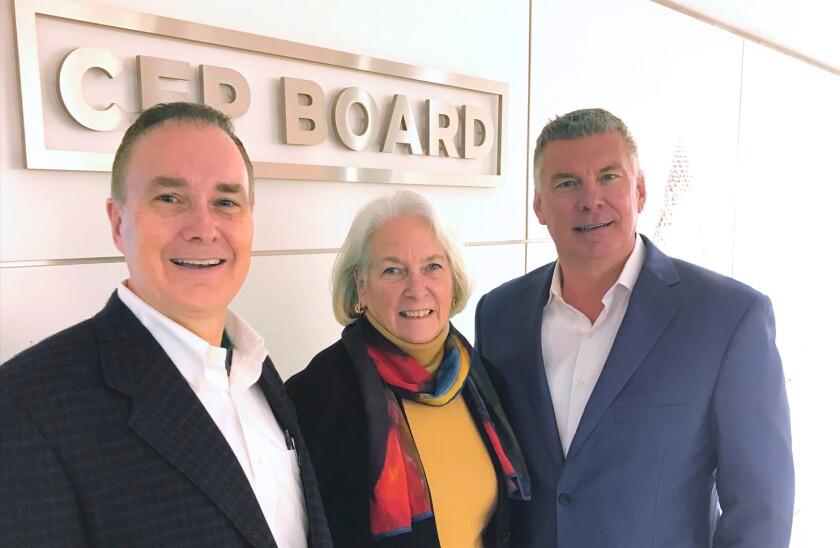 Richard Salmen, 2018 chairman of the CFP Board; Susan John, 2019 chairwoman of the board; and board CEO Kevin Keller at the board's headquarters in Washington