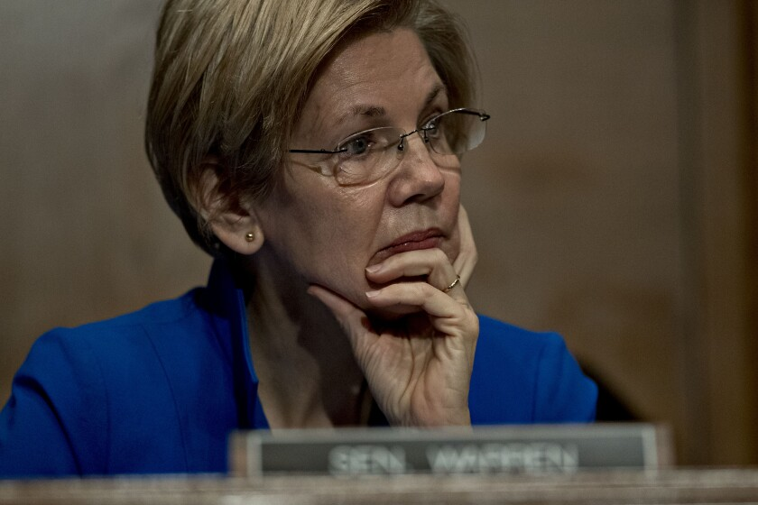 Senator Elizabeth Warren Democrat thinking Bloomberg News