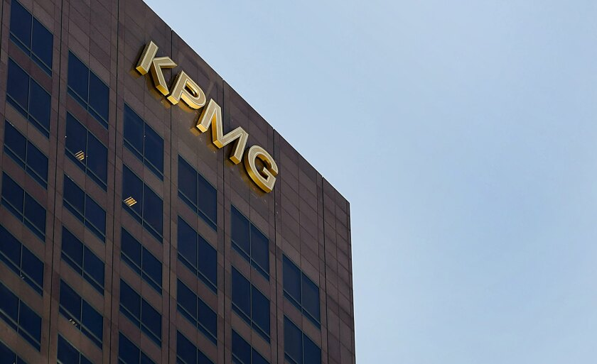 The offices for the accounting firm KPMG LLP stand in Los Angeles