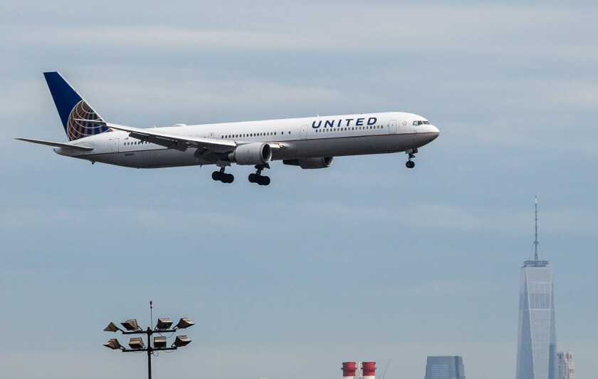 A United Airlines jet in 2017