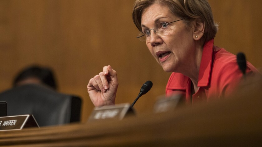 Senator Elizabeth Warren, Democrat of Massachusetts, during Senate Banking commitee hearing October 2017