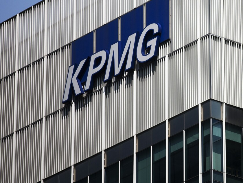 The offices of KPMG LLP in the Canary Wharf business and shopping district in London