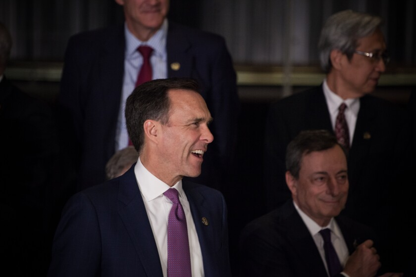 Bill Morneau, Canada's minister of finance, attends the family photo during the G-20 finance ministers and central bankers meetings in Buenos Aires, Argentina.