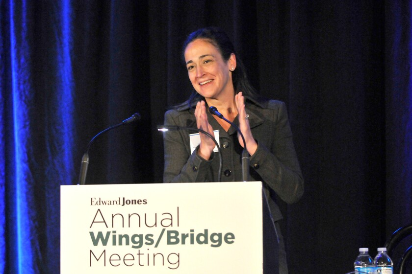 Monica Giuseffi speaking at Edward Jones annual WINGS/Bridge event on September 5, 2017.
