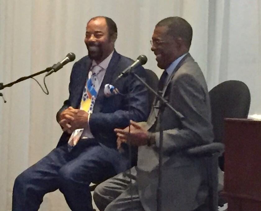 Walt Frazier (left) and Bill Daughtry at the Accountants Club of America