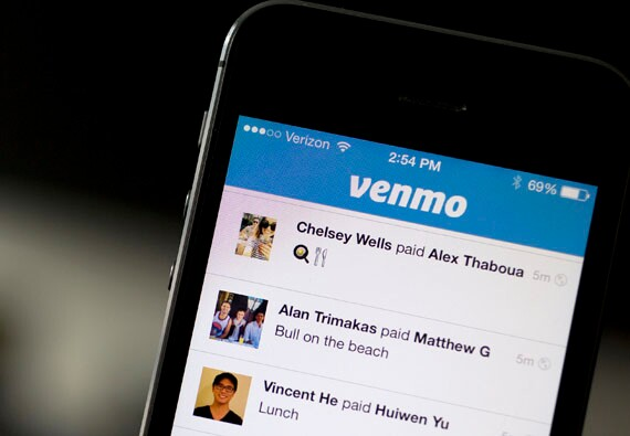 Mobile phone with Venmo app open
