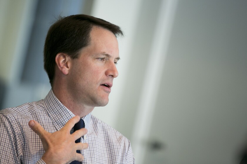 Representative James Jim Himes, a Democrat from Connecticut, speaks during an interview in Washington, on Thursday, April 25, 2013