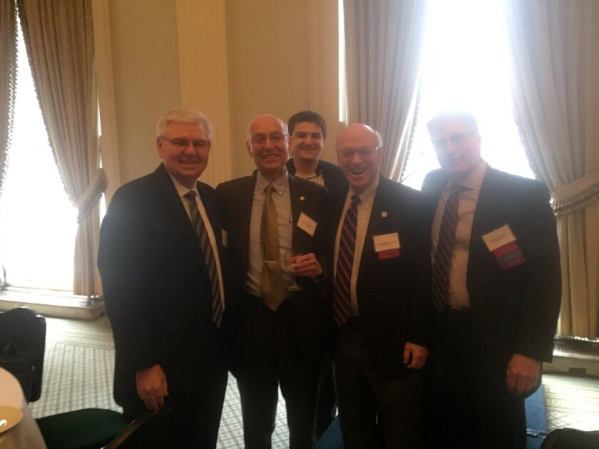 AICPA president and CEO Barry Melancon (left) with Stanley Goldstein of Stanley Goldstein & Co., Robert Reynolds of WithumSmith+Brown, Ed Mendlowitz of Withum, and Robert Fligel, president of the Accountants Club of America