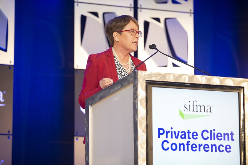 SIFMA Private Client conference photo of Shelly O'Connor, co-head of wealth management at Morgan Stanley