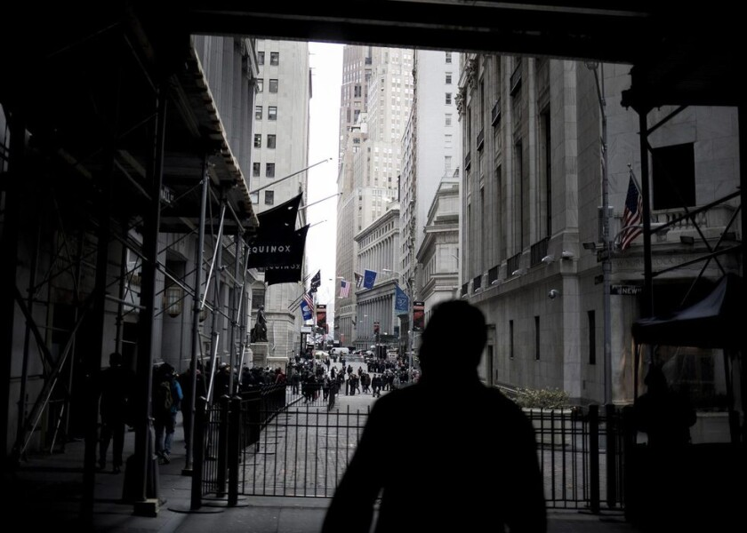 A gate protects Wall Street near the New York Stock Exchange