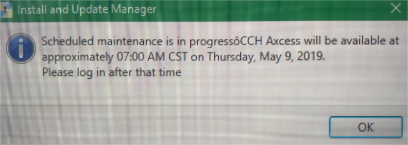 CCH outage screenshot