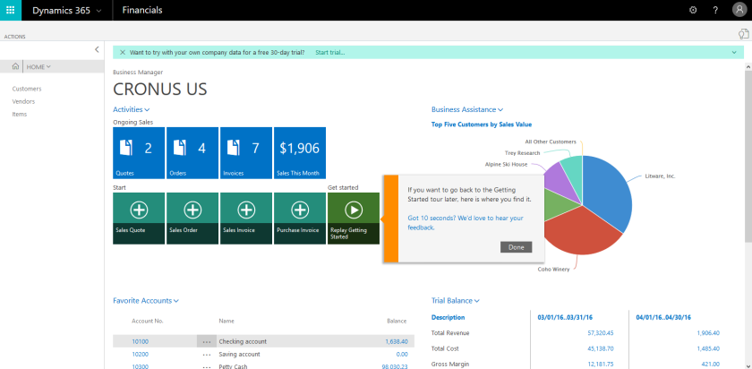 Microsoft Dynamics 365 Financials