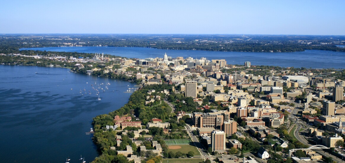 Madison, Wisconsin, featuring the state capitol