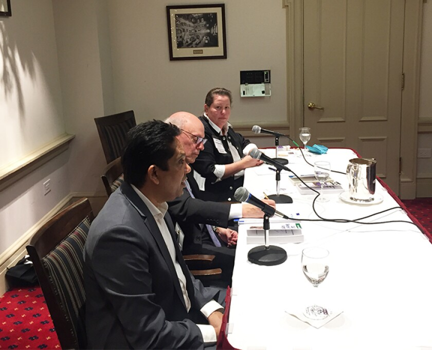 AccountantsWorld director of practice development Hitendra Patil (left), Withum partner Edward Mendlowitz and Penheel Marketing CEO Becky Livingston speak at an authors panel at the Accountants Club of America