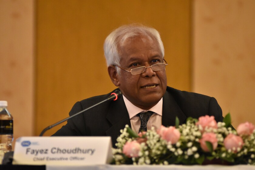 IFAC CEO Fayez Choudhury speaking at a council meeting