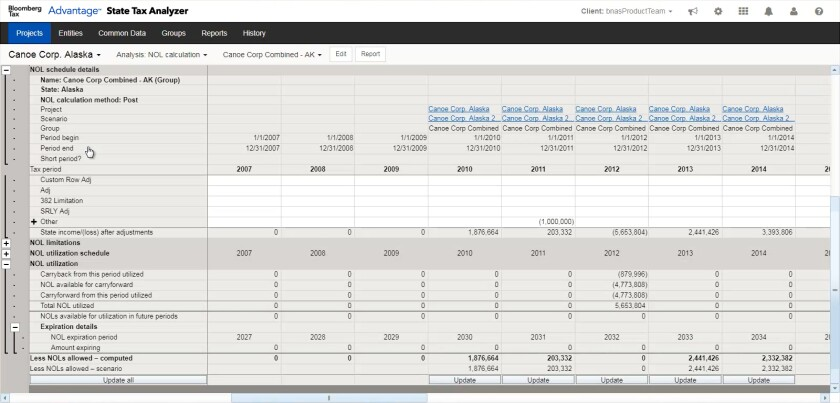 Bloomberg Tax Advantage's State Tax Analyzer for analyzing net operating losses