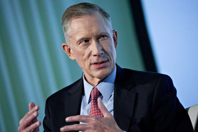 Timothy Scheve, president and chief executive officer of Janney Montgomery Scott LLC, speaks during an interview at the Securities Industry And Financial Markets Association (SIFMA) annual meting in Washington, D.C., U.S., on Tuesday, Oct. 24, 2017