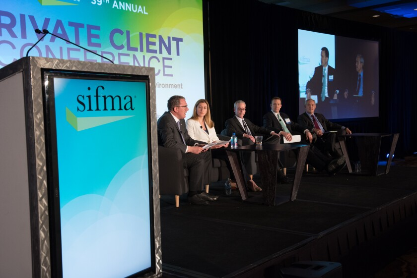 SIFMA private client conference regulatory panel with Ira Hammerman (left) April 2017