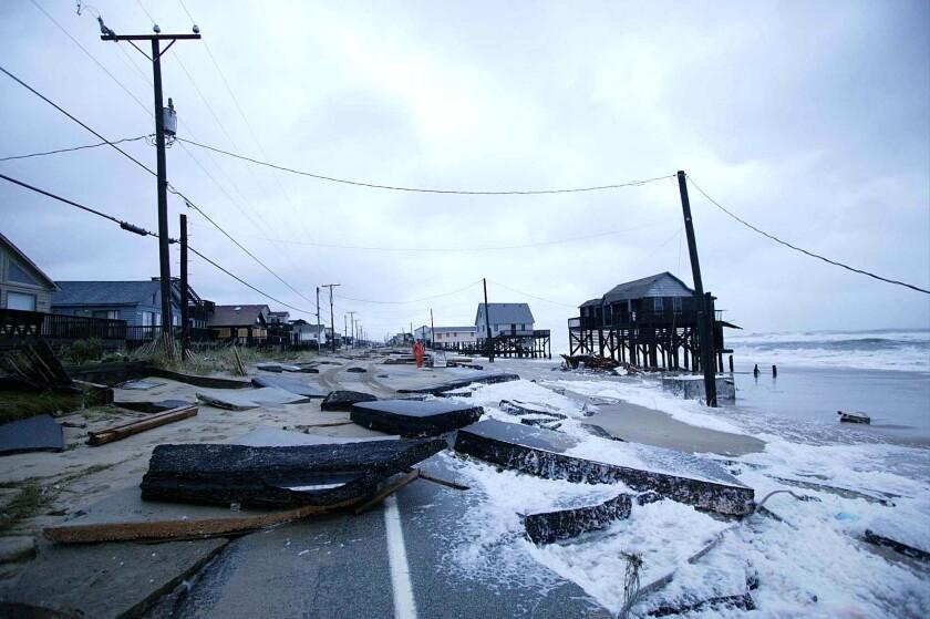 Hurricane damage on the coast of North Carolina