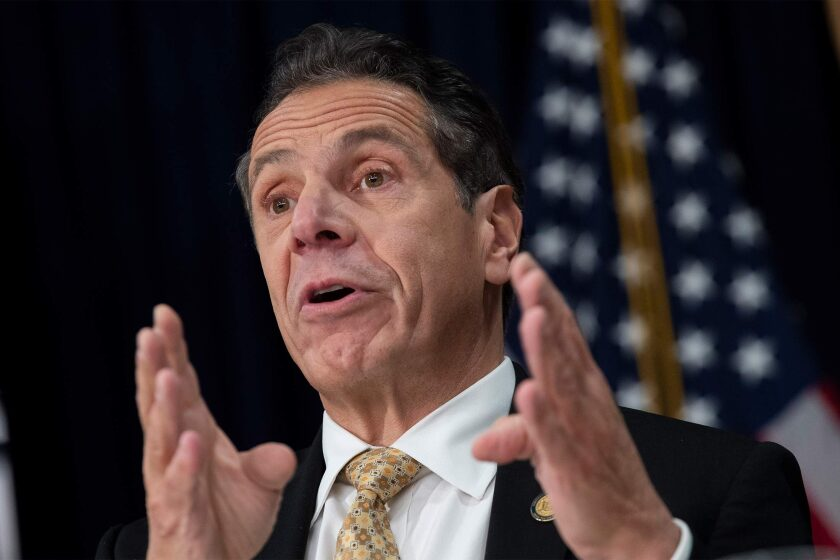 New York Governor Andrew Cuomo speaks during a press conference.