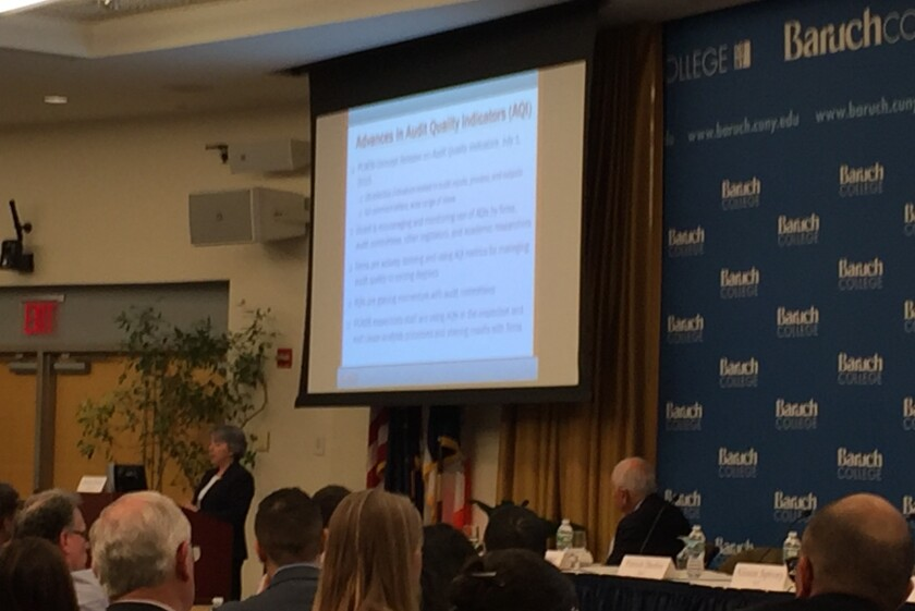 PCAOB board member Jeanette Franzel speaking at Baruch College in New York