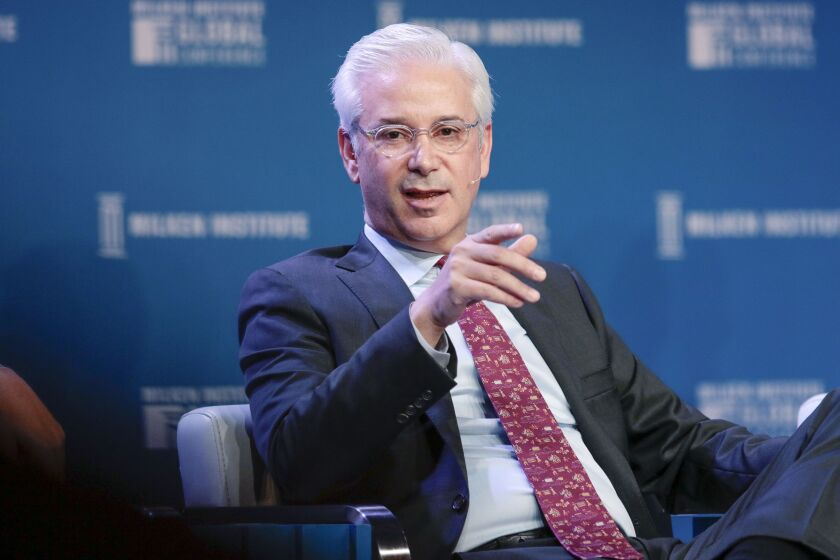 Charles Scharf, chief executive officer of Bank of New York Mellon Corp., speaks during the Milken Institute Global Conference in Beverly Hills, California, U.S., on Tuesday, April 30, 2019. The conference brings together leaders in business, government, technology, philanthropy, academia, and the media to discuss actionable and collaborative solutions to some of the most important questions of our time. Photographer: Kyle Grillot/Bloomberg