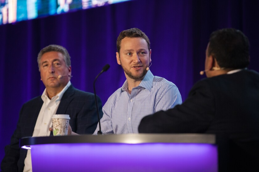 """The future will not be written by the large incumbents,"" says Betterment CEO Jon Stein (center), who spoke on an In