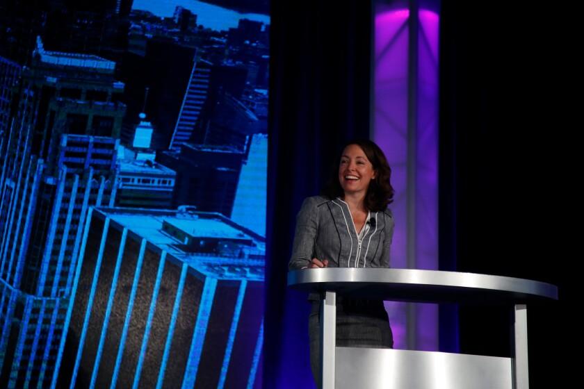 Kelli Keough, Global Head of Digital Wealth Management at JPMorgan Chase, gives opening keynote remarks at In|Vest 2018.