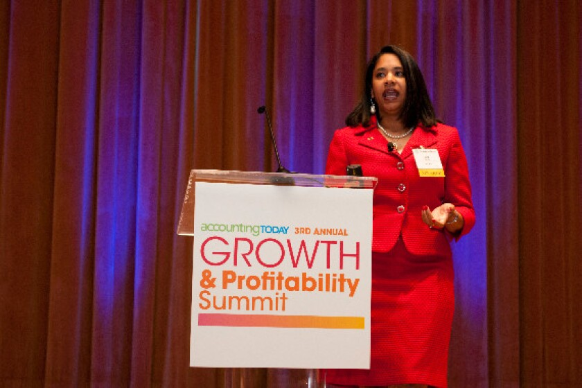 Jina Etienne speaking at Accounting Today's Growth & Profitability Summit