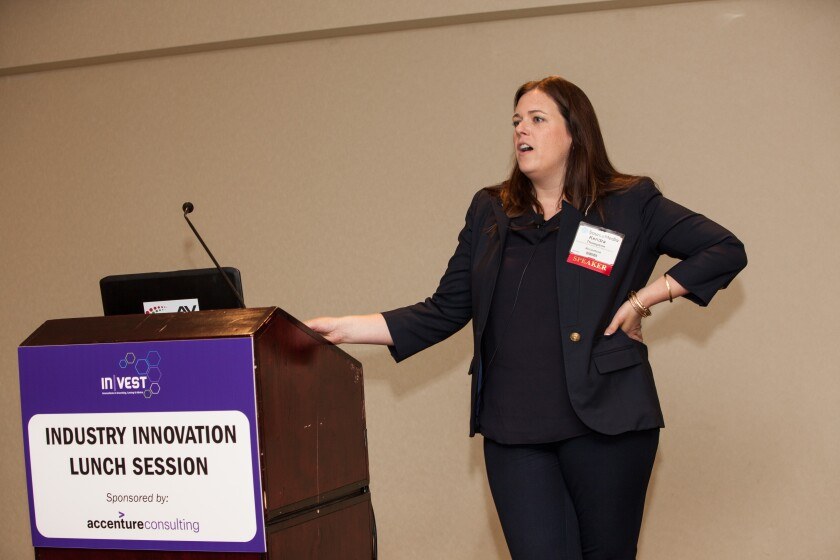 Kendra Thompson, head of Accenture's global wealth management practice, speaks at SourceMedia's InVest Conference in New York.