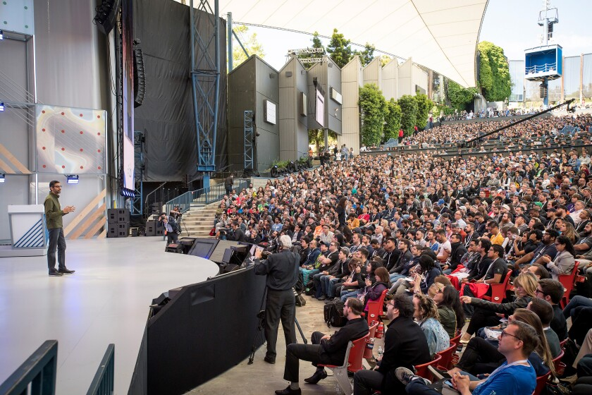 Sundar Pichai, chief executive officer of Google Inc., speaks during the Google I/O Developers Conference in Mountain View, California, U.S., on Tuesday, May 8, 2018. Each year, Google uses the start of its annual conference to set a narrative about how developers and the public should view the company. This time, the message was clear: Google is about technology for good. Photographer: David Paul Morris/Bloomberg